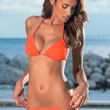 Triangle top, string bottom in Papaya Orange | VENUS