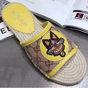 GUCCI New Casual Cat Head Print Peep Toe Flat Comfort Sandals F0413-1 Yellow