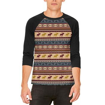 Autumn Moose Adirondack Pattern Mens Raglan T Shirt