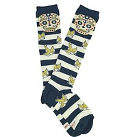 Loungefly Sugar Skull & Sparrow Nautical Stripes Knee Socks