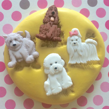 PUPPY Silicone MOLD - Fondant Mold - Rubber Mold, Marzipan, Cupcake Topper, Cake Pops, Sugar Decor, Royal Icing, Charms, Jewell, Craft