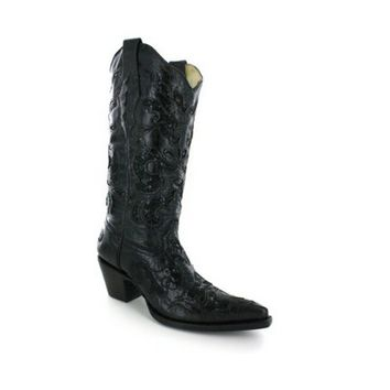 Corral Sequin Inlay Cowgirl Boot Pointed Toe Black Leather Boots A1070