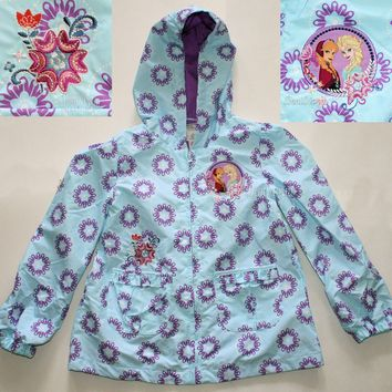 Licensed cool Disney Store FROZEN ELSA ANNA HOODED RAINCOAT Rainwear Jacket Coat girls Size 4