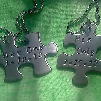 Personalized Puzzle Piece Necklace Set - Hand Stamped Stainless Steel - her one and his only