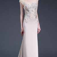 Embellished Illusion Back Gown