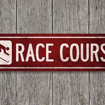 RACE COURSE Original Illustration - ready to hang 6 x 24 metal sign - made to order