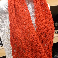 Christmas Treat - Free Shipping - Chunky Lace Red Infinity Scarf, Crochet, Chunky Cowl Scarf