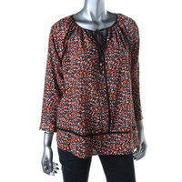MICHAEL Michael Kors Womens Petites Printed Long Sleeves Blouse