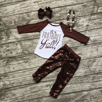 """Football clothes Fall suit baby girls brown boutique pants Sequins long sleeves""""it's Football""""with matching bow and necklace set"""