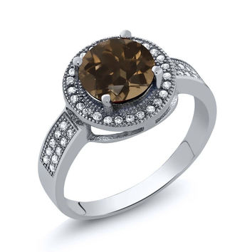 2.30 Ct Round Brown Smoky Quartz 925 Sterling Silver Ring