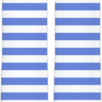 Retro style knee high socks, horizontal marine stripes pattern, white and light blue