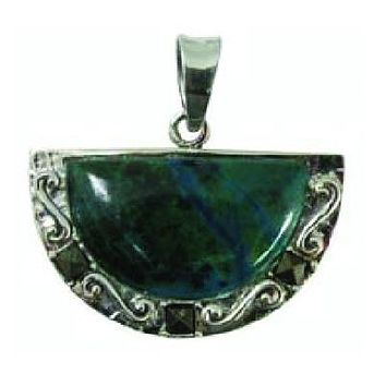 Judaica Chrysocolla Pendant Half Moon Emerald Necklace