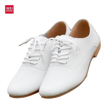 WeiDeng Woman Genuine Leather Preppy Style Lace Up Casual Pointed Flat Non Slip Office