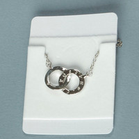 Womens 9K White Gold Filled Double Circle Necklace Pendant Swarovski Crystal