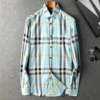 Burberry Men Fashion Casual Long Sleeve  V-Neck  Shirt