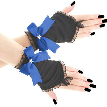 Black blue short fingerless gloves romantic wedding wrist warmers, womens evening gloves, bridal pastel goth glove victorian lolita 0795B3