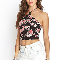 FOREVER 21 Floral Print Crop Top Black/Pink Large