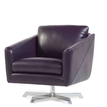 Jayden Full Top Grain D Grade Leather Swivel Contemporary Chair Purple Joker