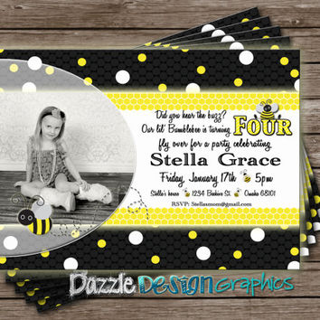Bee Birthday Invitation, Bumble Bee Busy Bee girls invite, #242 Digital Download