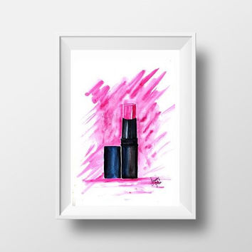 Pink lipstick pipe beauty makeup picture Printable salon Wall Art watercolor girl decal Chanel Mac decor, Bathroom, powder room poster