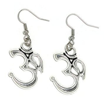 Om Symbol Dangle Earrings Silver Tone Sanskrit Aum Hindu Buddhist Yoga EN00 Fashion Jewelry