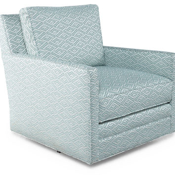 Waverly Swivel Chair, Sky/White, Accent & Occasional Chairs