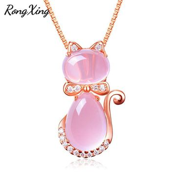 RongXing Lovely Pink Stone Cat Pendants For Women Rose Gold Filled White Crystal Zircon Clavicle Necklace Girls Choker Jewelry