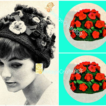 1960s Charming Geranium Cloche-Vintage Crochet Pattern-Hat-Cap-Flower-Flowers-Hat-Cap-Appliquéd Flowers Bows-Womens Cap-Vintage Crafts PDF