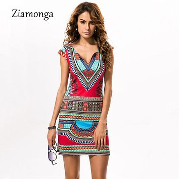 c53ebe9fcc90 Ziamonga 2019 Sexy Women Summer Dress Traditional African Print