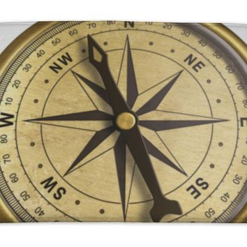 Bath Mat, Simple Old Brass Nautical Compass Isolated On White