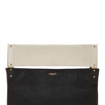 Lanvin Black Leather Tri-color Shoulder Bag