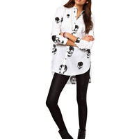 Skull Print Chiffon Long Sleeve Blouse