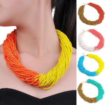 Holidays Party Casual Gift Free Twist 10 Mix 2 Colors 40 Layers Chain Style Handmade Beads Bib Pendant Necklace