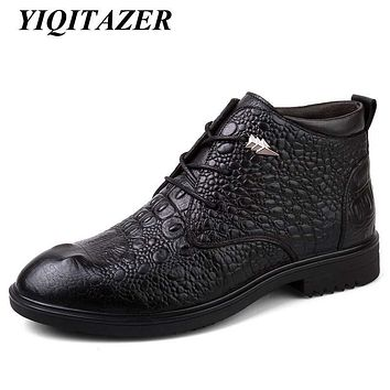 YIQITAZER 2017 New Fashion Winter Geniune Leather Shoes Men Amry Ankle Boots,Lace up Motorcycle Boot Man Shoes Black Brown