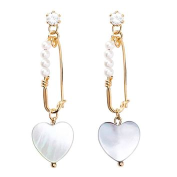 Vintage Simulated Pearl Safety Pin Rhinestone Heart Shaped Shell Drop Earrings for Women Wedding Bridal Party Jewelry Pendientes