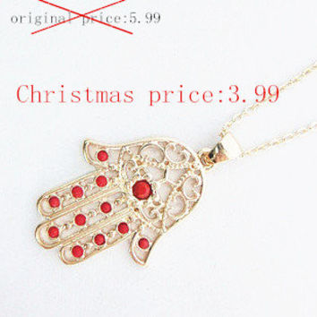 Promotional:Gold Hamsa necklace / 4 colors available Blue, Black, White, Red, Bridesmaid Jewelry, / Friendship,Birthday Gift