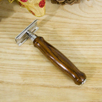 Custom Men's Double Edge Safety Razor with a Cocobolo Handle