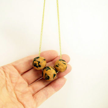 Black and Gold Three Bead Simple Modern Necklace / Polymer Clay Jewelry / Wearable Art