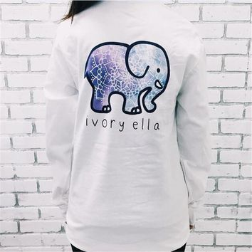 2016 Spring Ivory Ella Women T Shirt American Apparel Kawaii Printed Elephant Long Sleeve White T-shirt Plus Size Couple Clothes