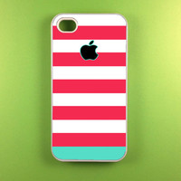 Iphone 4 Case - Pink Blue Strip Iphone Case,Iphone 4s Case