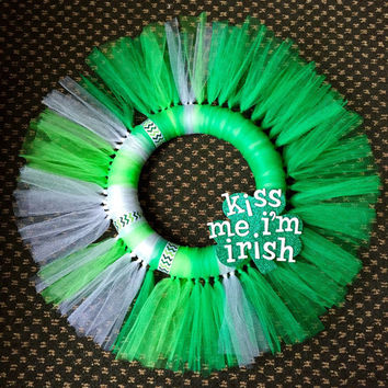 St. Patricks Day Tulle Wreath with Shamrock Embellishments /KISS ME I'M IRISH