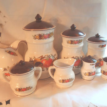 Vintage Containers , Flour and Sugar , Coffee and Tea , Milk and Creamer Jug , Salt and Pepper Shakers
