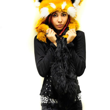 Red panda, faux fur, hood with ears, furry winter scoodie, hat