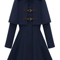 Navy Stand Collar Epaulet Cape Coat