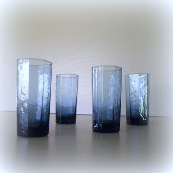 VINTAGE GEOMETRIC BLUE Set of Glass Tumblers / 4 Fabulous Drinking Glasses / Cobalt Smoke Ombre / Mid Century Bareware / Colored Glassware