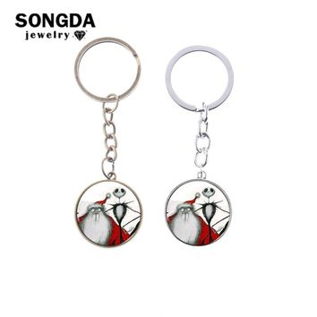 SONGDA Jack Skellington and Santa Claus Charms Key Ring Anime Toy Pendant Car Key Chain The Nightmare Before Christmas Jewelry