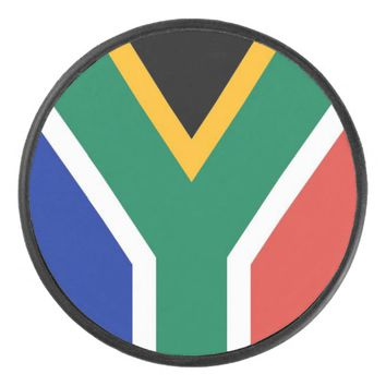 Patriotic hockey puck with South Africa flag