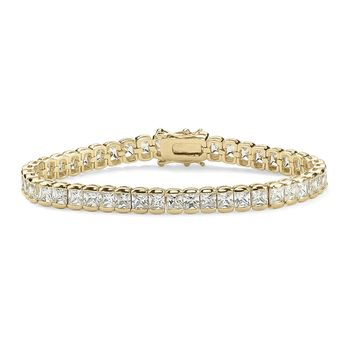 12.60 TCW Princess-Cut Cubic Zirconia 14k Gold-Plated Straight Line Tennis Bracelet 7 1/2""