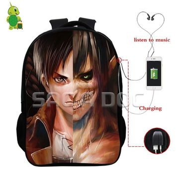 Cool Attack on Titan Anime  Eren Split Laptop Backpacks Multifunction USB Charge Headphone Jack School Bags for Teens Travel Rucksack AT_90_11