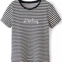 Black and White Striped Darling Graphic Print T-Shirt